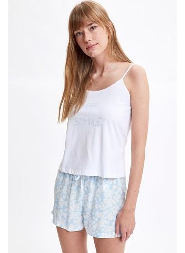 Defacto –Fit Pijama Takım Mavi